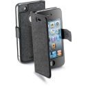 Acc. Чехол-книжка для iPhone 4/4S CellularLine Book Slim (Кожа) (Черный) (BOOKSLIMIPHONE4SBK)