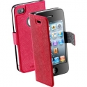 Acc. Чехол-книжка для iPhone 4/4S CellularLine Book Slim (Кожа) (Малиновый) (BOOKSLIMIPHONE4SP)