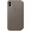 Acc. Чехол-книжка для iPhone X Apple Folio Taupe (Кожа) (Серый) (MQRY2ZM)