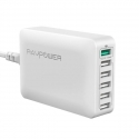 Асс. USB Hub RavPower 6-Ports USB Charging Station with iSmart Technolog White (RP-PC029WH)