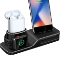 Асс. Подставка для iPhone Apple Watch 1/2 AirPods TGM 3 in 1 charging base Black