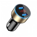 Acc. Автомобильное ЗУ TGM Dual Usb Car Charger With LED Display Black/Gold