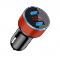 Acc. Автомобильное ЗУ TGM Dual Usb Car Charger With LED Display Black/Red